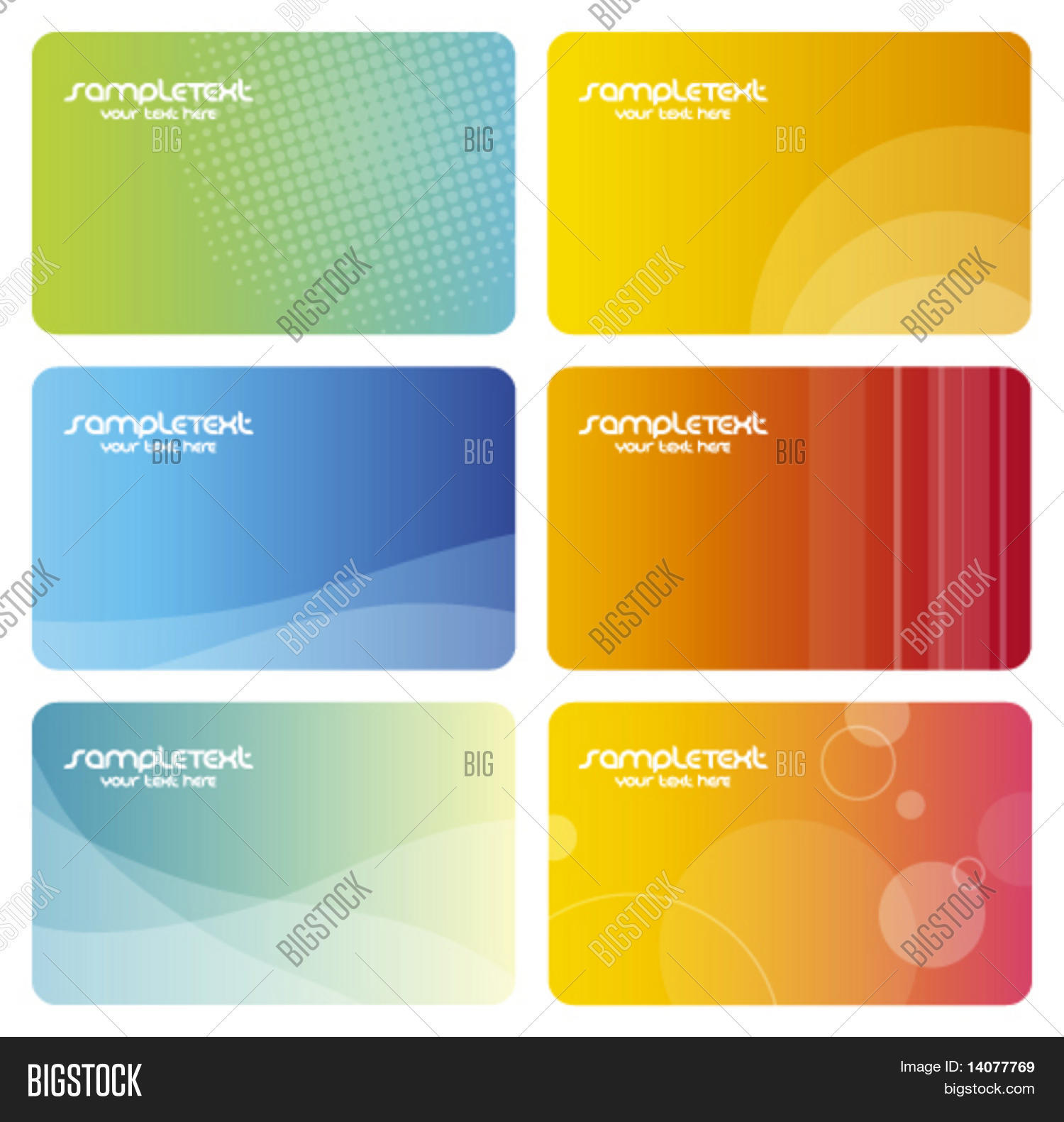 Set Colorful Business Cards Vector & Photo | Bigstock
