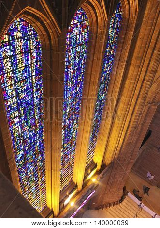 LIVERPOOL, ENGLAND, JULY 2. Liverpool Cathedral on July 2, 2016, in Liverpool, England. A high view of the massive stained glass windows in Liverpool Cathedral England.