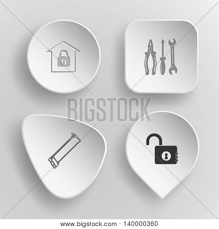 4 images: bank, tools, hacksaw, opened lock. Industrial tools set. White concave buttons on gray background. Vector icons.