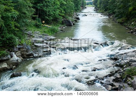 The stream of a mountain river in the Carpathian Mountains, the water flow in a forest