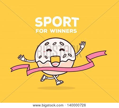 Vector illustration of bright color smile donut runs through the tape to win on yellow background. Creative cartoon donut concept. Doodle style. Thin line art flat design of character donut for sport win theme