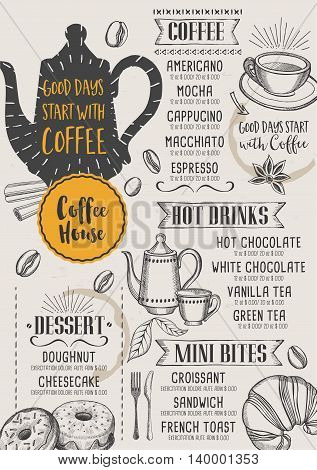 Coffee restaurant brochure vector coffee shop menu design. Vector cafe template with hand-drawn graphic. Coffee flyer.