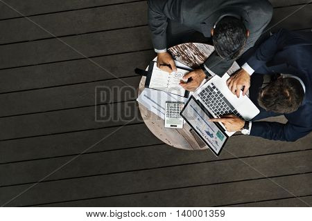 Businessmen Working Cafe Outdoors Concept