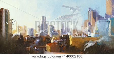 landscape digital painting of futuristic sci-fi city with skyscraper, illustration