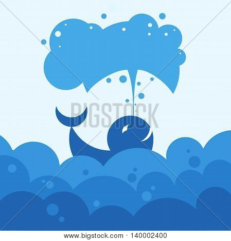 whale produces a jet of air, vector illustration