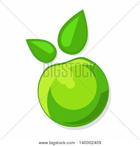 green Apple with green leaves, vector icon, illustration