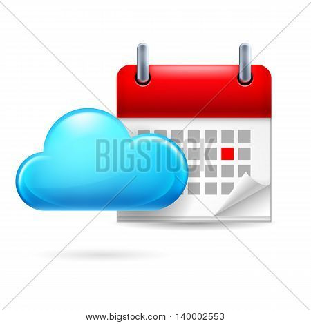 Page calendar with a marked red-letter day of the week. Near to cloud
