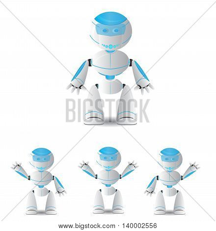 cute cartoon robot set isolated on white