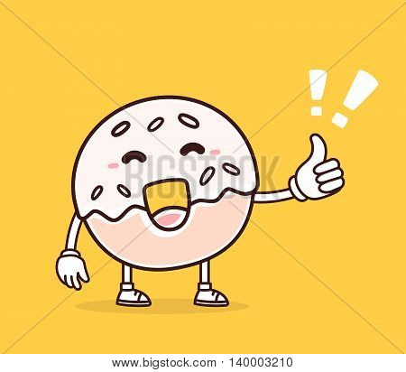 Vector illustration of bright color smile donut with thumb up on yellow background. Creative cartoon donut concept. Doodle style. Thin line art flat design of character donut for positive time theme