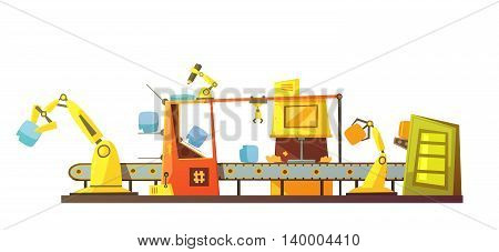 Automatic stock line managing with modern robots technology in retro cartoon style banner print schema vector illustration