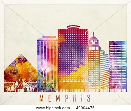 Memphis landmarks in artistic abstract watercolor poster