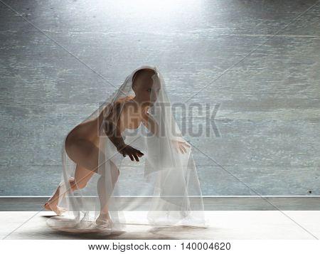 Young woman under transparent cloth 3D Render