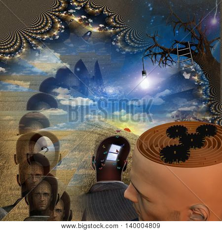 Mans head reveals maze in strange scene 3D Render