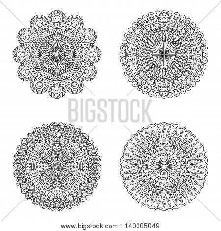 Set of floral mandalas on white background, vector illustration