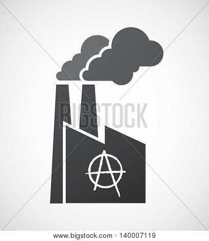 Isolated Factory Icon With An Anarchy Sign
