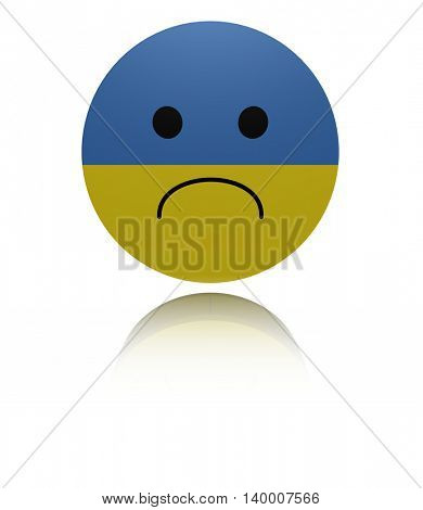 Ukraine sad icon with reflection 3d illustration