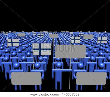 Crowd of people with signs and Finnish flags 3d illustration