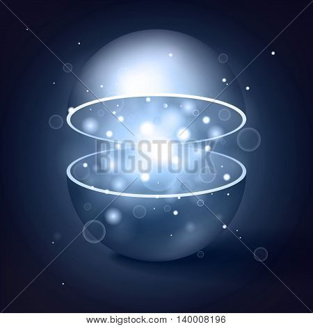 Vector volume hollow sphere, open magic ball, light inside, abstract object for you project design