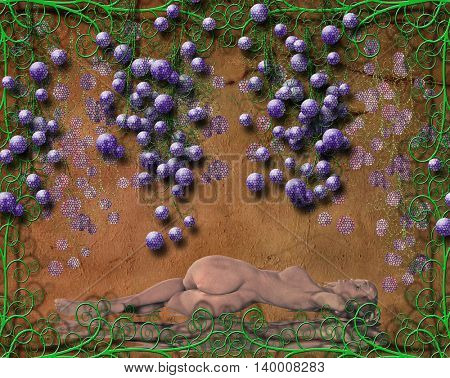Grapes and Flourishes 3D Render