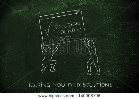 team lifting up a pop-up message with Solution Found concept of business intelligence and decision support systems
