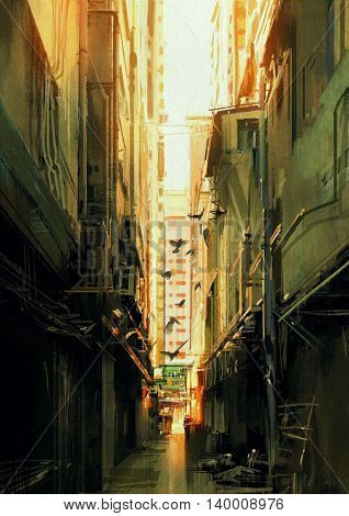digital painting of long narrow alleyway at sunset, illustration
