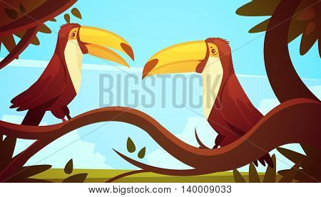 Two toucan birds sitting on large tree branch with blue sky background poster retro cartoon style illustration vector