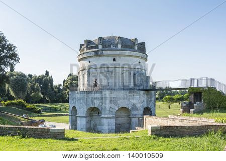 RAVENNA,ITALY-AUGUST 21,2015:People visit the mausoleum of Theodoric in Ravenna-Italyduring a sunny day.