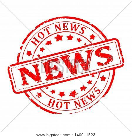 Scratched round red stamp with the words - news hot news - vector