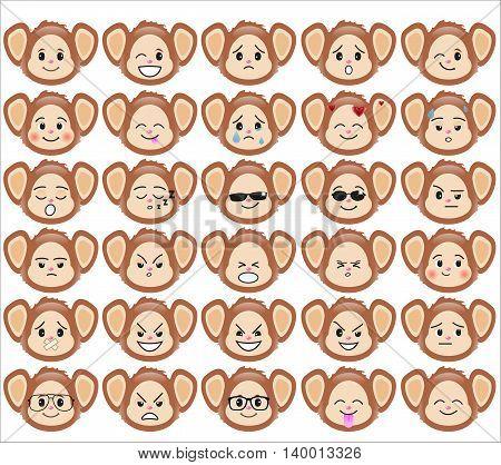Set Funny Monkey Vector & Photo (Free Trial) | Bigstock