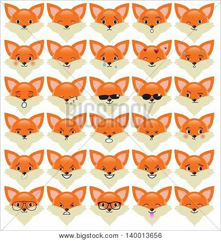 Set of funny fox emoticons - smiling red foxes with different emotions from happiness to angry isolated on white background. Can be used for logos icons signs avatars web decor other design