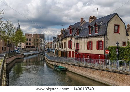 embankment of Somme river in Amiens France poster