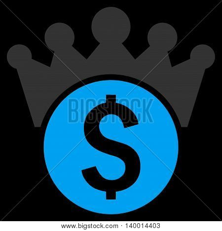 Financial Power vector icon. Style is flat symbol, blue color, black background.