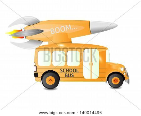 orange school bus with side view carrying a missile