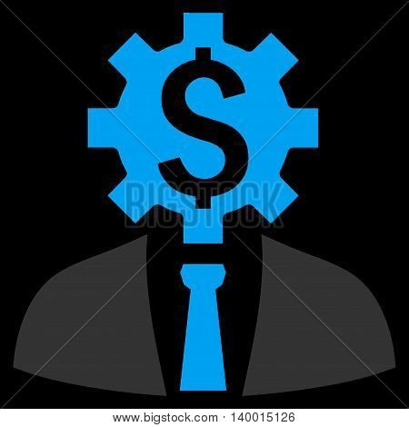 Office Worker vector icon. Style is flat symbol, blue color, black background.