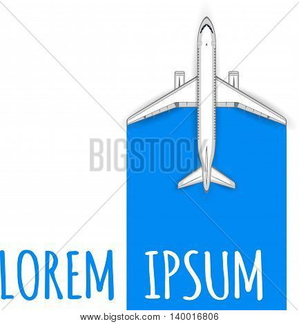 Commercial flights in airplanes. Tourist and business flights. Passenger plane. Empty space for text. Flyer design. Vector illustration. Blue background