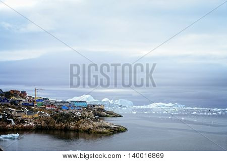 Glaciers and Ilulissat city view at Greenland