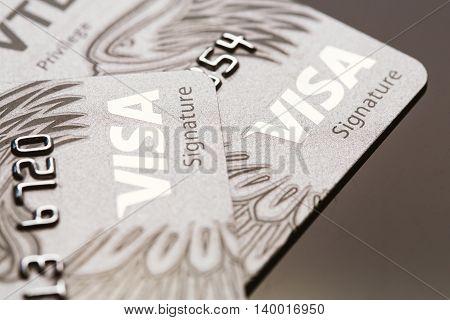 Samara, Russia-july 25.2016: Visa Signature Credit Card Close-up