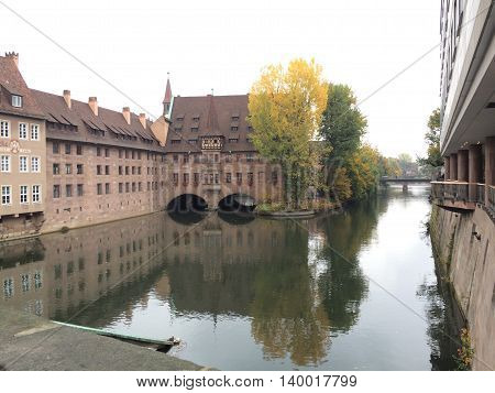 Germany, October 18, 2015, Nuremberg, Bavaria - Beautiful buildings by the river Isar in Fall