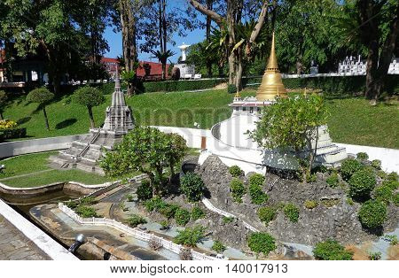 PATTAYA THAILAND -  Golden mountain in Mini Siam Park. Mini Siam is a famous miniature park attraction.