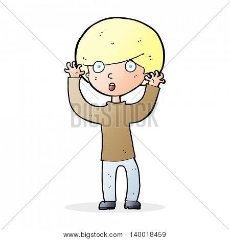 cartoon startled boy