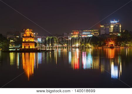HANOI, VIETNAM - DECEMBER 13, 2015: Night panorama of the lake of the returned sword. Historical landmark of the city Hanoi