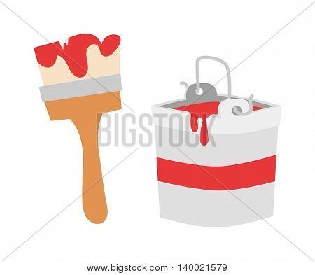 Paint brush icon flat vector
