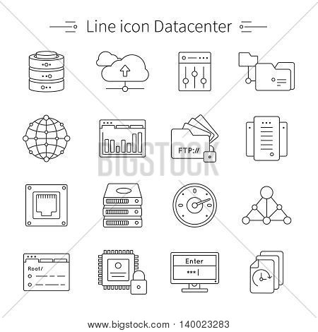 Datacenter line icon set data storage and processing center with equipment and tools for work vector illustration