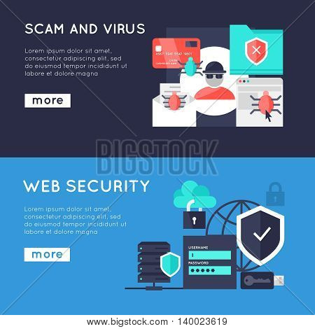 Computer security horizontal banners with web protection spam and virus on blue backgrounds isolated vector illustration