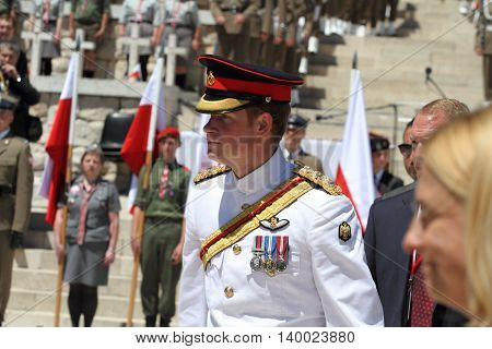 Prince Harry in the Commonwealth War Cemetery in Cassino during his visit to Italy on 05/18/2014