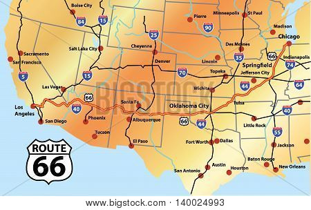 Gold Map of Complete Route 66 With Main Highways