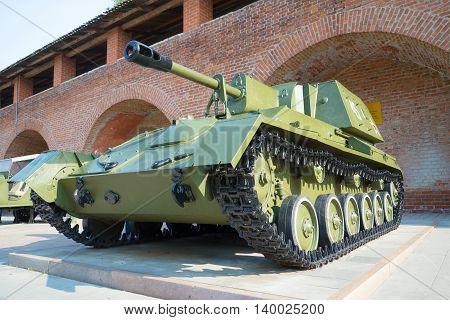 NIZHNY NOVGOROD, RUSSIA - AUGUST 27, 2015: Self-propelled gun SU-76. An exhibit of military equipment in the Kremlin