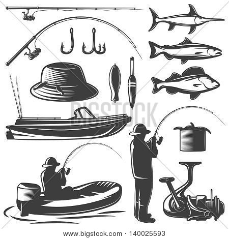 Fishing black isolated icon set with equipment of fisherman and his catch vector illustration