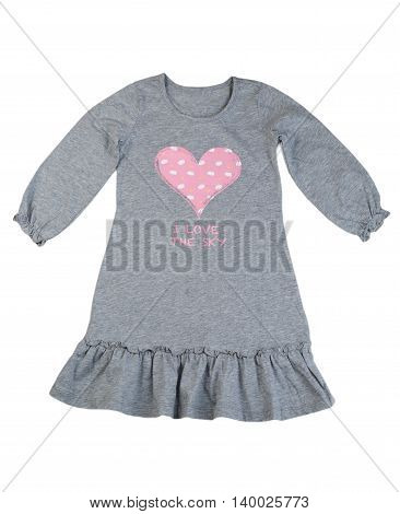 Cotton gray dress with a pattern of hearts. Isolate on white.