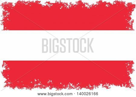 Austrian national flag with authentic color and distressed worn edges
